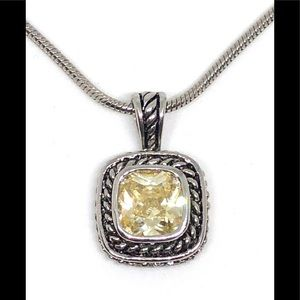 Jewelry - Canary Yellow Crystal Chunky Square Chain Necklace